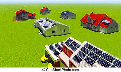 casas, painéis, solar