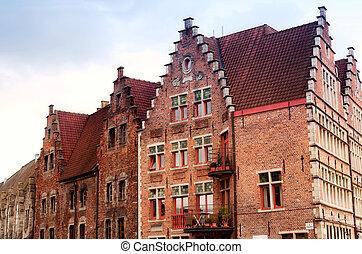 casas, paredes, antiguo, gante, bélgica
