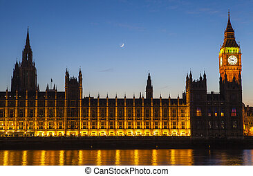 casas, parlamento, londres, anochecer