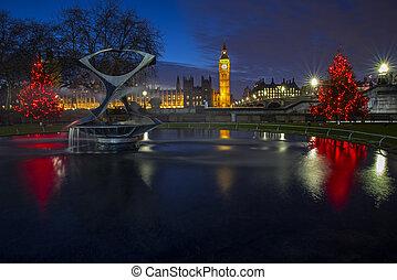 casas, parlamento, navidad