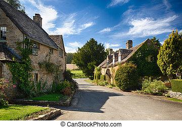 casas, pedra, cotswold, antigas, icomb