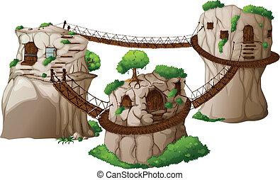 casas, penduradas, árvore, pontes