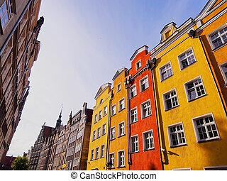 casas, Polônia,  Gdansk, coloridos