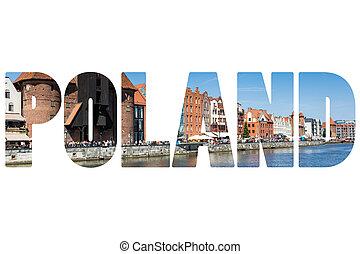 casas, Polônia, palavra, coloridos,  Gdansk