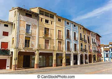 casas, quadrado, antigas, mercado, xativa
