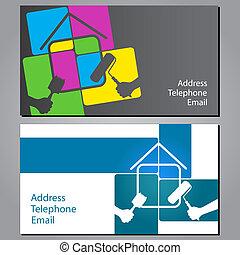 casas, quadro, cartão negócio