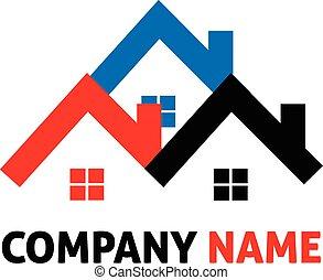 casas, real, logotipo, propriedade