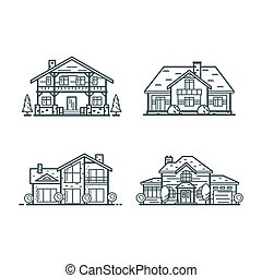 casas, residencial, línea, delgado, iconos