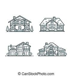 casas, residencial, linha magra, ícones