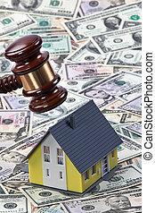 casas, símbolo, propiedad, crisis