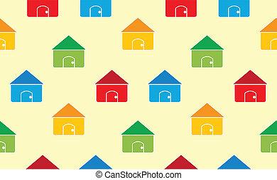 casas, seamless, padrão, fundo