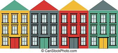 casas, set., vetorial, ícones