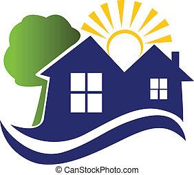 casas, sol, árbol, y, ondas, logotipo