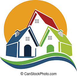 casas, sol, y, ondas, logotipo