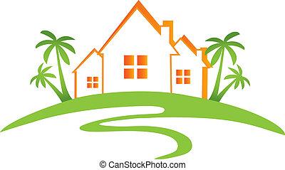casas, sol, y, palmas, diseño