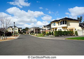 casas, suburbano, modernos, vizinhança