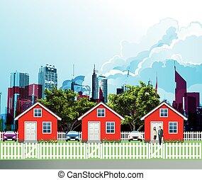 casas, suburbano, residencial, fila