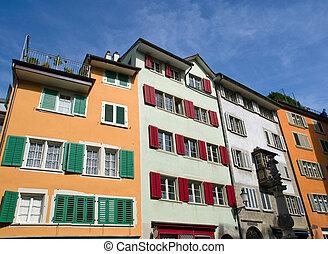 casas, típico, antigas, Zurique