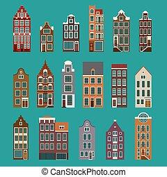 casas, típico, europeu
