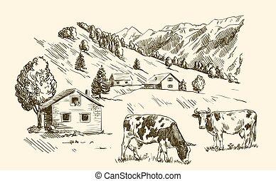 casas, tierras labrantío, aldea