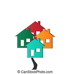 casas, vector, 3d