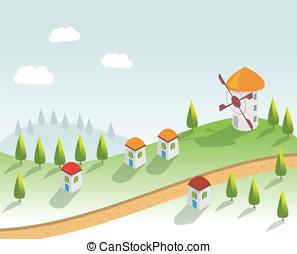 casas, vector, houses., aldea
