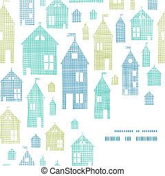 casas, verde azul, têxtil, textura, canto, quadro, seamless, padrão, fundo