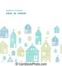 casas, verde azul, têxtil, textura, horizontais, quadro, seamless, padrão, fundo