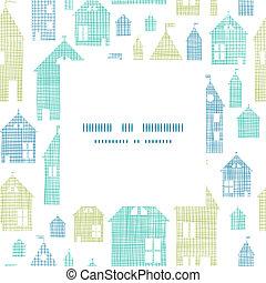 casas, verde azul, têxtil, textura, quadro, centro, padrão, fundo