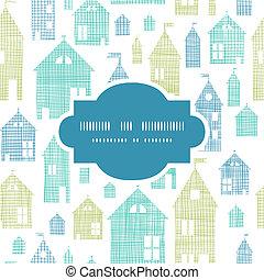 casas, verde azul, têxtil, textura, quadro, seamless, padrão, fundo