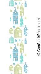 casas, verde azul, têxtil, textura, vertical, seamless, padrão, fundo