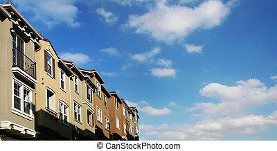 casas, y, nubes