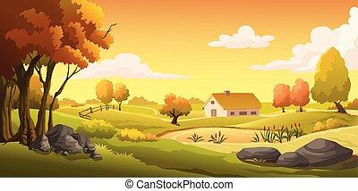 casas, y, prados, en, el, colina, en, sunset.
