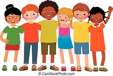 casato, cartone animato, etnico, differente, felice, ragazzi, illustrazione, fondo, ragazze, vettore, gruppo, bambini, bianco