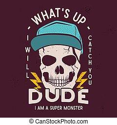 casato, stampa, è, illustration., fondo, hipster, -, su, logotipo, super, camicia, citazione, t, distintivo, vettore, cranio, monster., halloween, bellimbusto, art., poster., tipografia