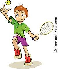 casato, tennis, illustrazione, giocatore