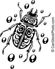 casato, vettore, icona, simbolo, antico, nero, egitto, isolato, stile, bianco, illustration., fondo., scarabeo