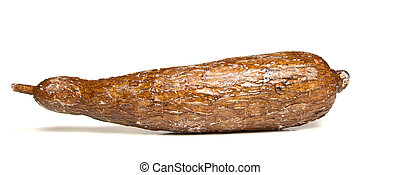 Casava root isolated on white from low perpective.
