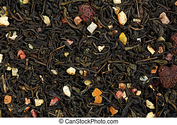 casca, chá, fruit., framboesas, mistura, verde, laranja, candied