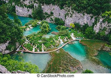 cascada, en, forest., plitvice, lago