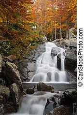 cascada, en, otoño