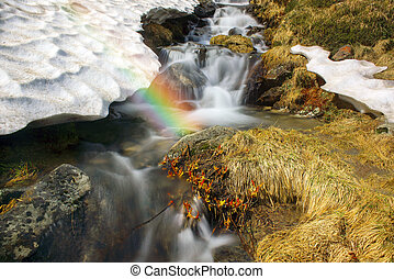 cascada, en, ucrania, -, en, el, prut, río