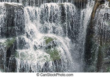 cascada, en, verano