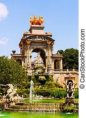 Cascada fountain in Barcelona in sunny day