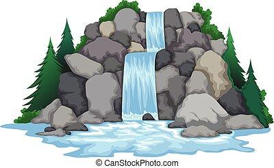 cascada, paisaje, vista