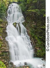 cascada, verde, naturaleza