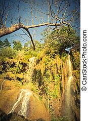 cascadas, escarpado, cascada, montaña, (pink, la, yem, cuestas, dai, hijo, blouse), vietnam, abajo