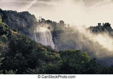 cascadas, maravilloso,  marmore,  Umbria, vista