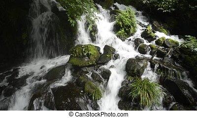 Cascade falling among stones - White cascade falling among...