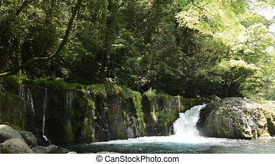 Cascade falling rock mass under fresh green forest